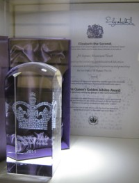 The crystal and certificate on display