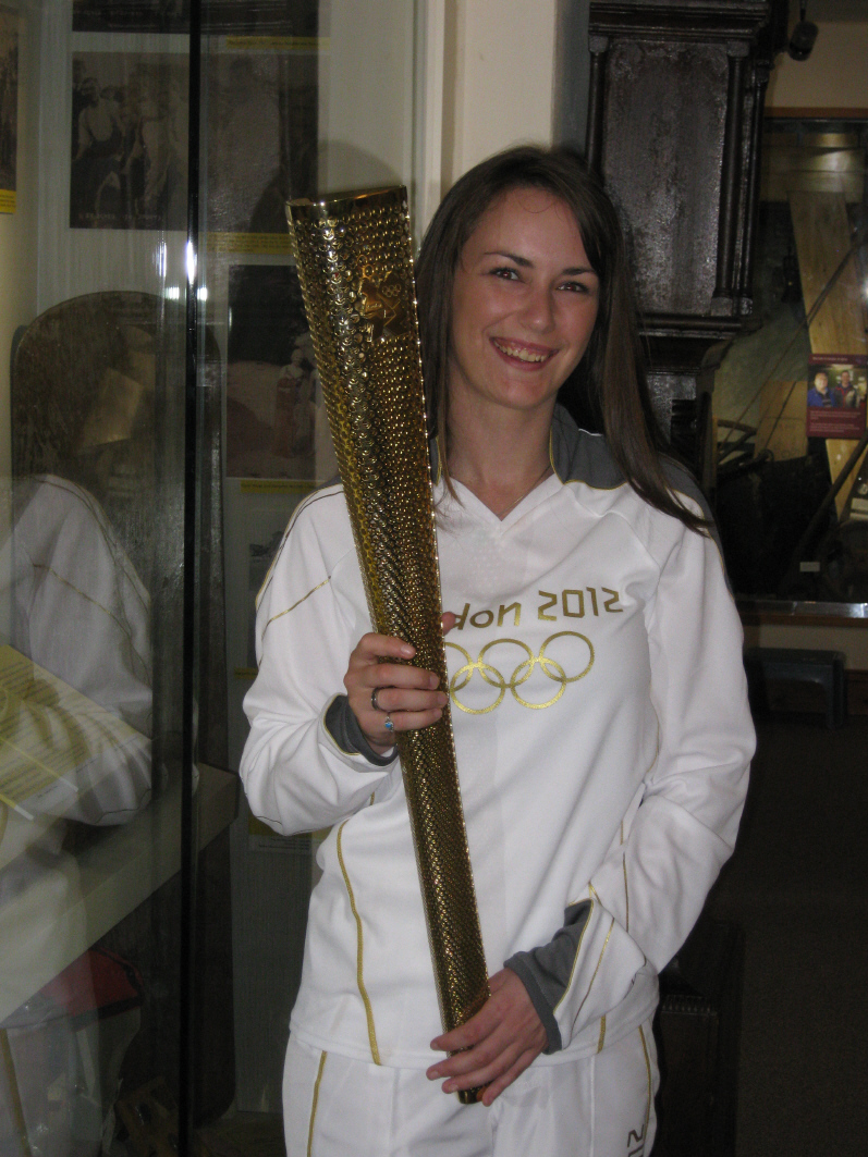 Samantha Woon with her Olympic torch