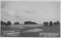 Picture of the SS Eltham washed up on Chapel Porth beach